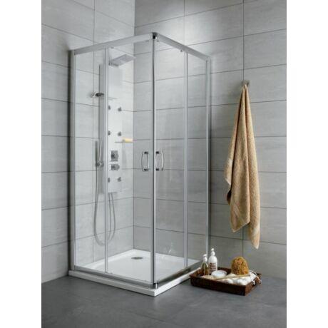 Radaway Premium Plus D 80x90x190 szögletes aszimmetrikus zuhanykabin átlátszó üveggel, görgős